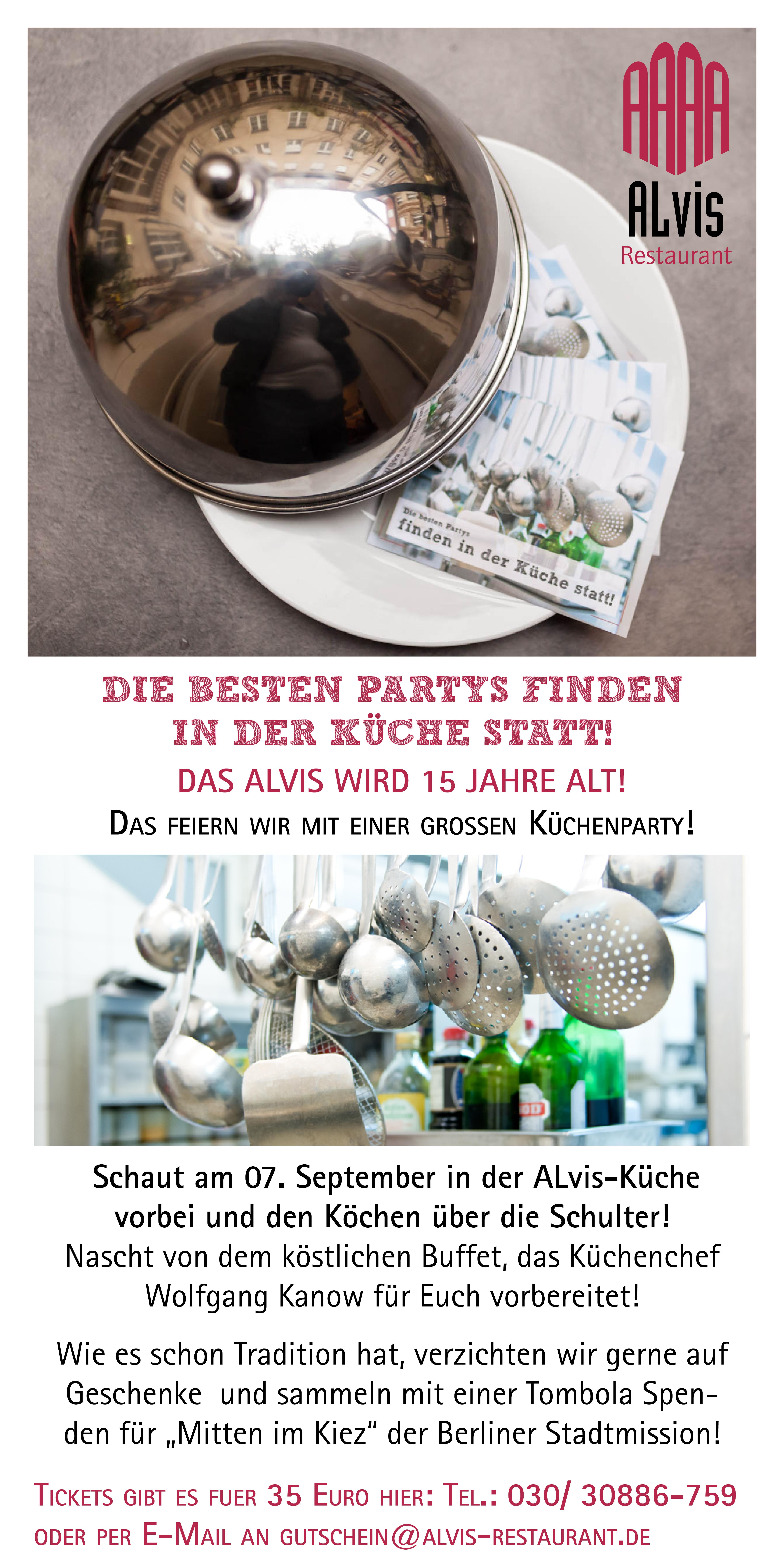 Küchenparty im Restaurant ALvis in Berlin Mitte